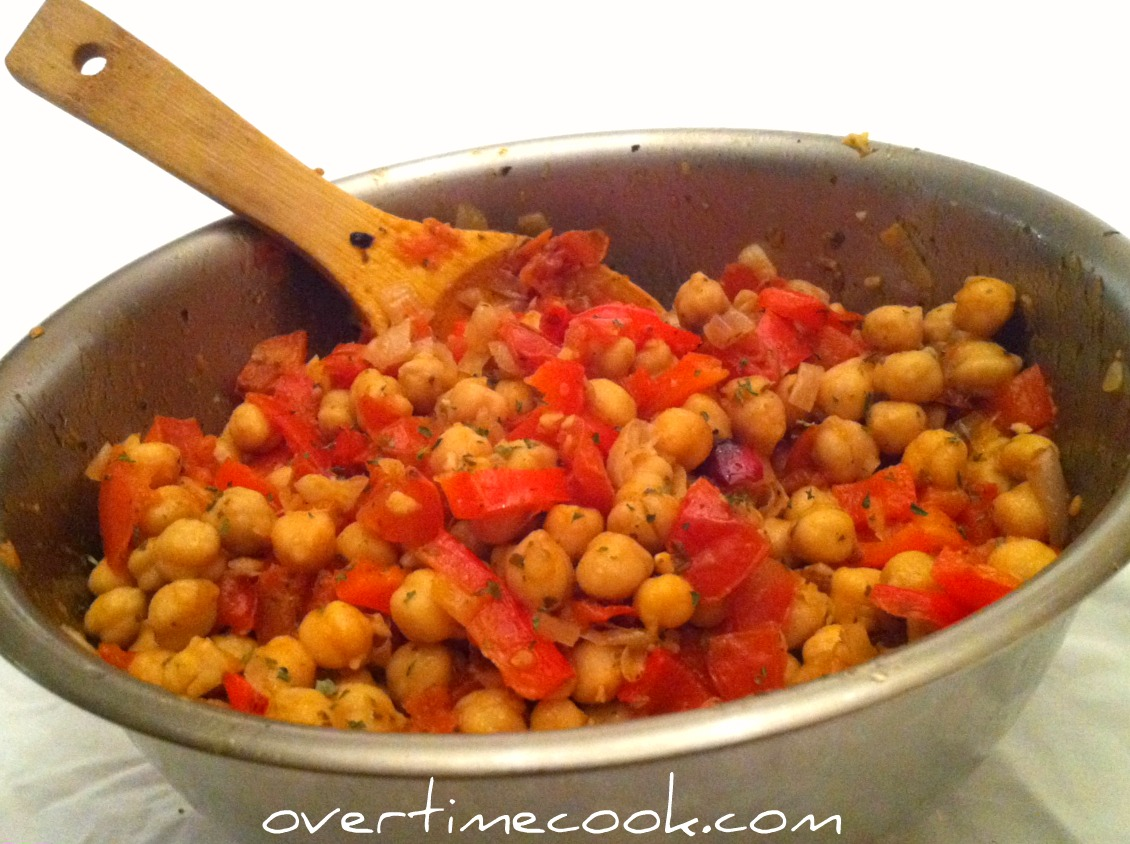 Roasted Vegetable Chickpea Salad - Overtime Cook