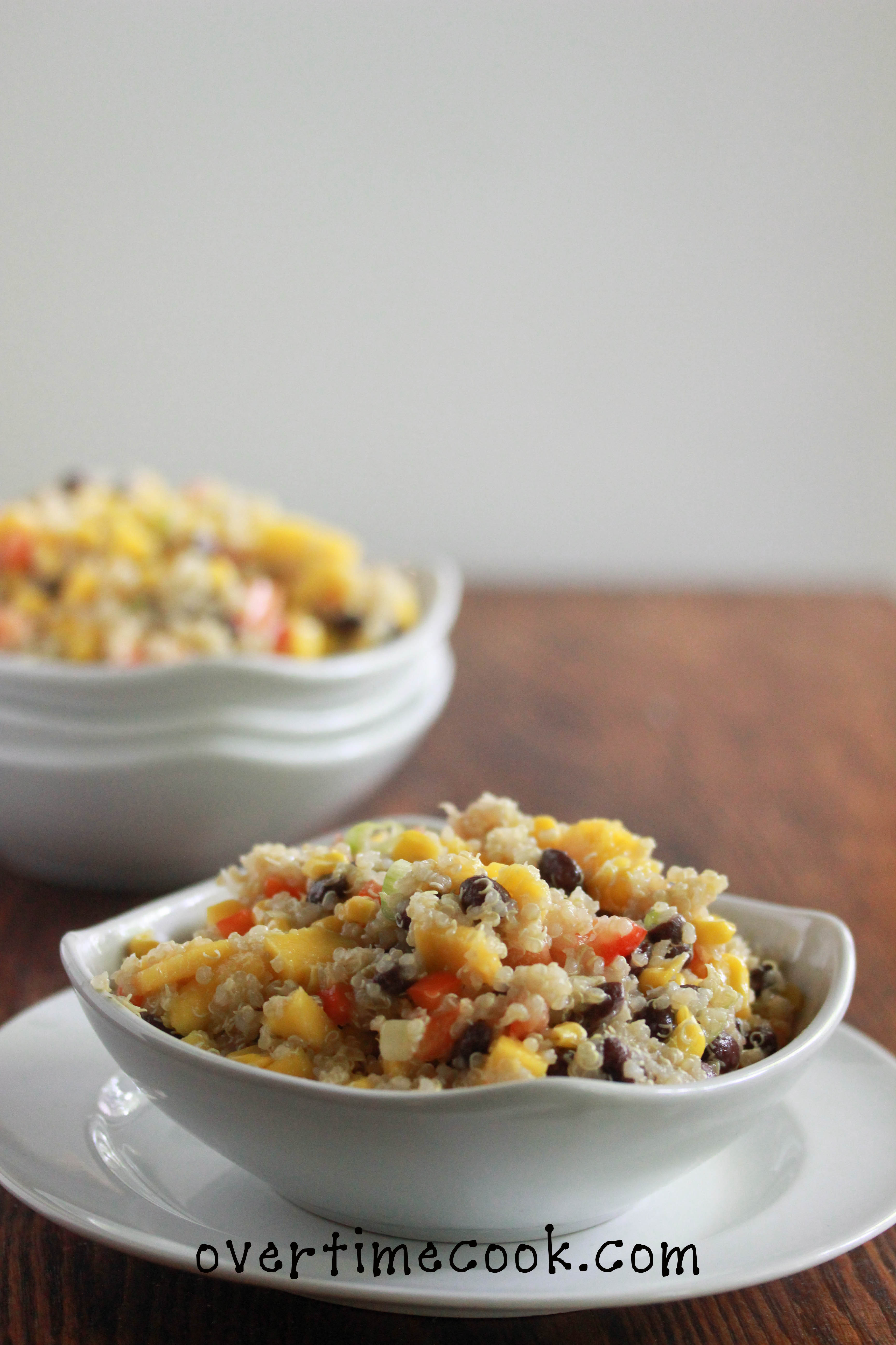 Black Bean, Corn and Mango Quinoa Salad - Overtime Cook
