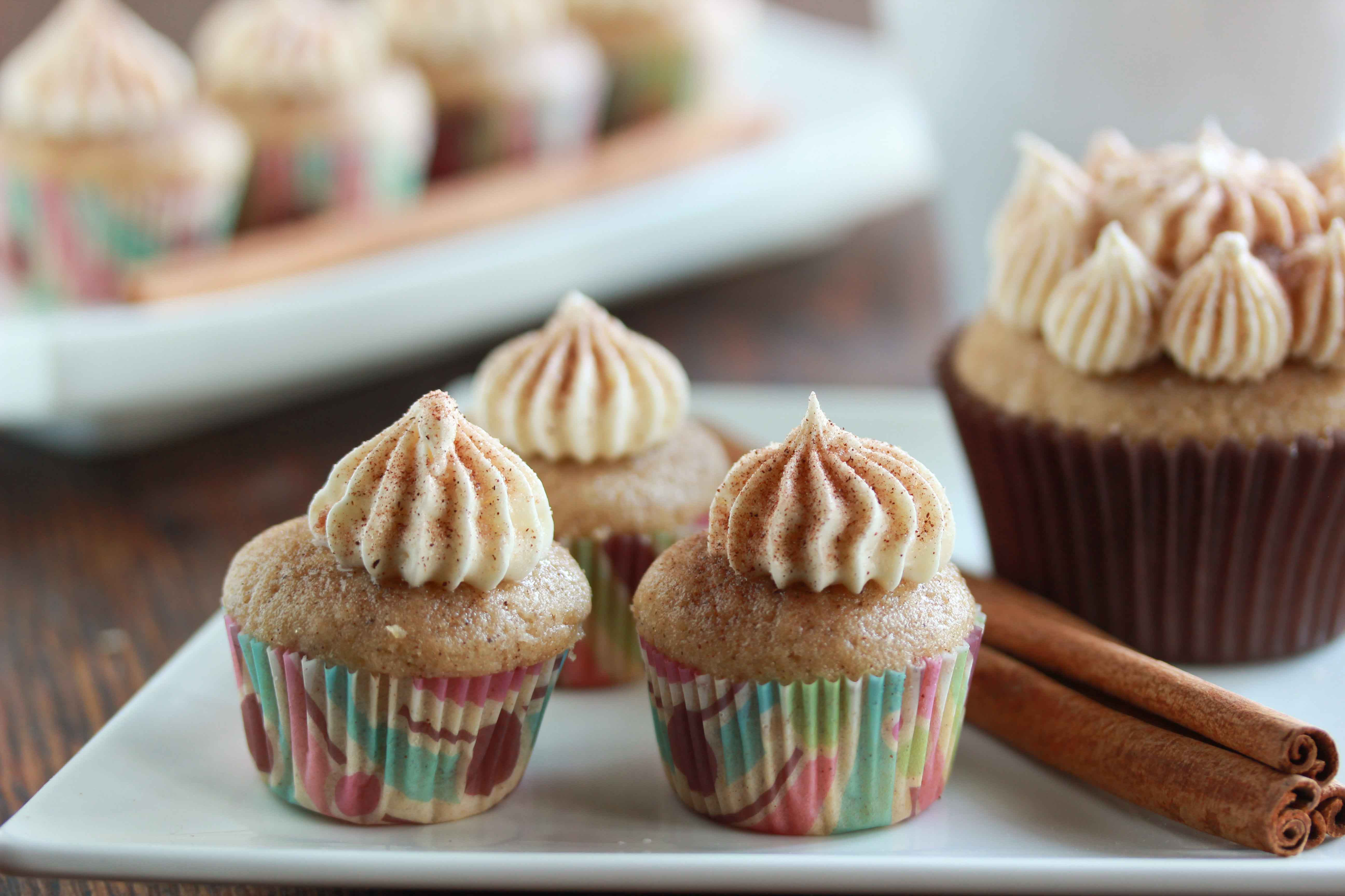 Snickerdoodle Cupcakes with Marshmallow Fluff Frosting - Overtime Cook
