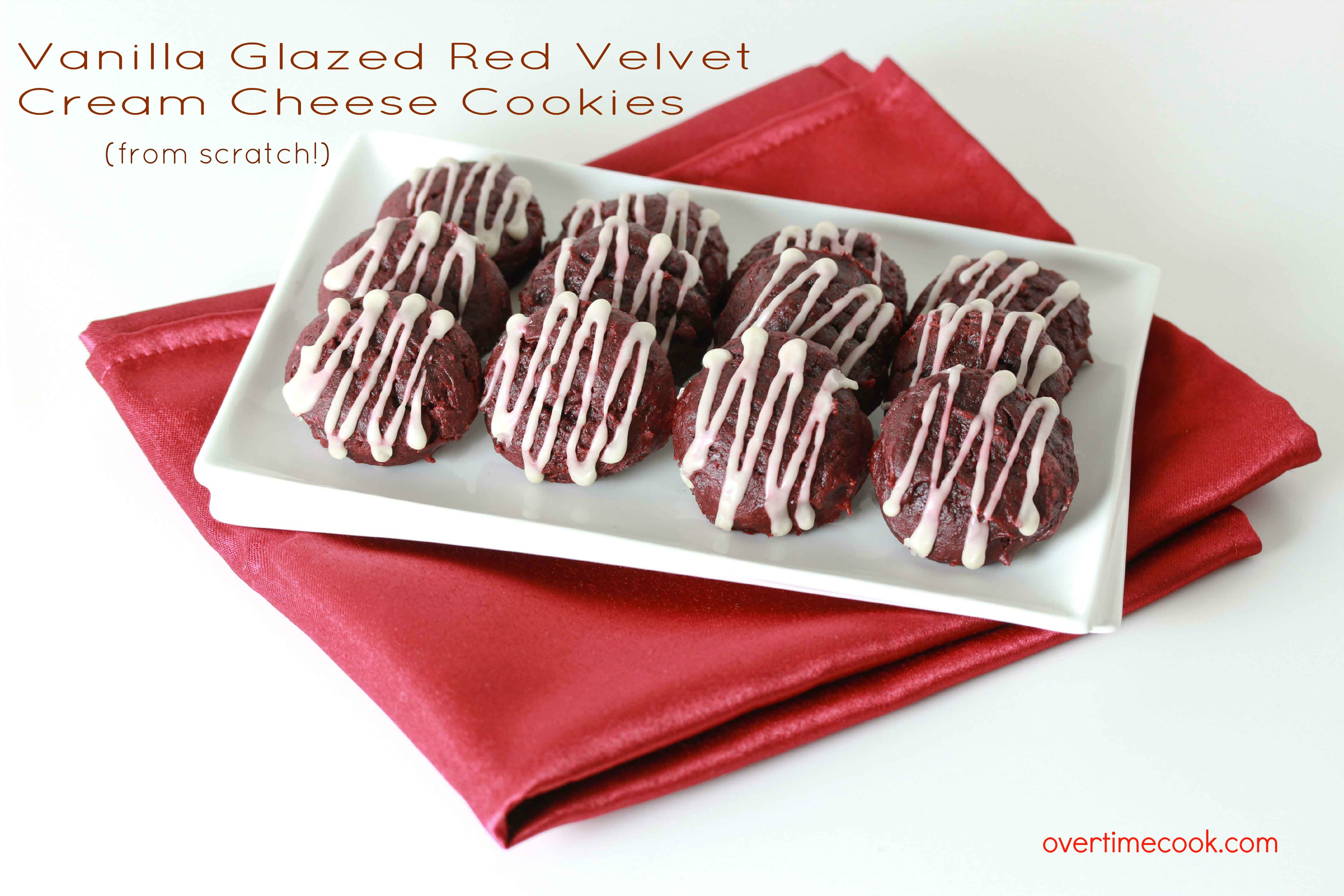 vanilla glazed red velvet cream cheese cookies on overtimecook